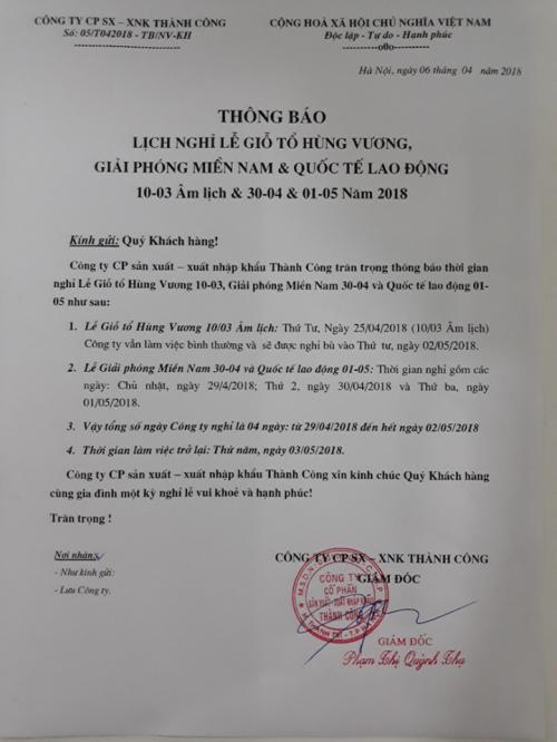 VIC GROUP thông báo lịch nghỉ Lễ Giỗ tổ Hùng Vương , 30/4 - 1 /5.